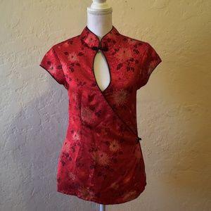 Mandarin Collar Red Blouse